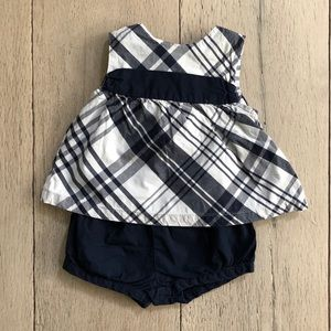 Blue and White Plaid with Bow Set